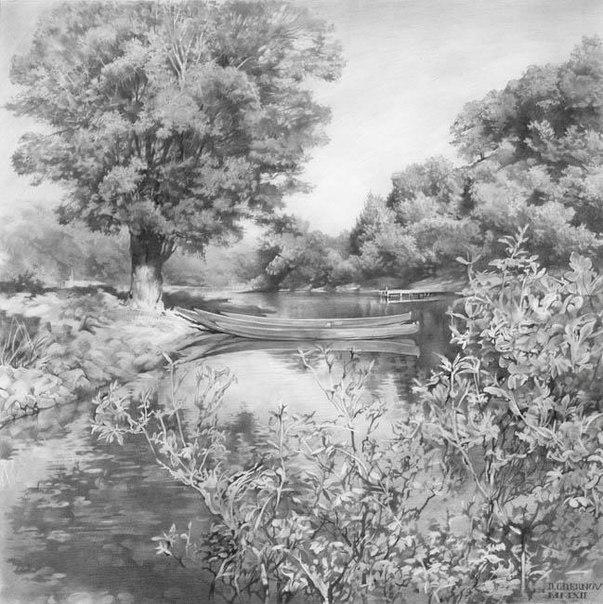 денис чернов, рисунки карандашом, пейзаж, академический рисунок