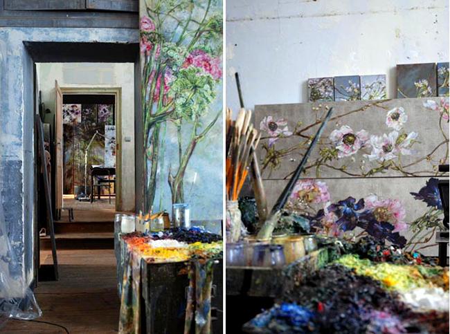 картина, цветы, художница, мастерская, оранжерея