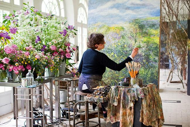художница, цветы, мастерская
