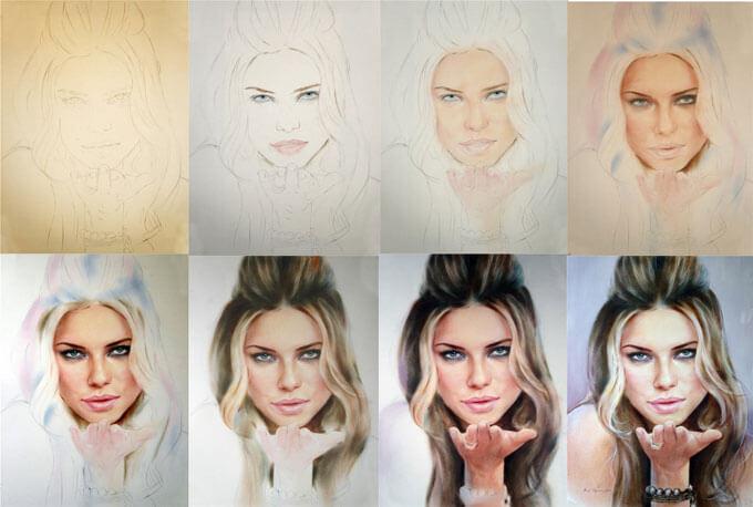 портрет, портрет пастелью, рисуем пастелью, уроки рисования, мастер класс, рисуем поэтапно, как рисовать, искусство, арт