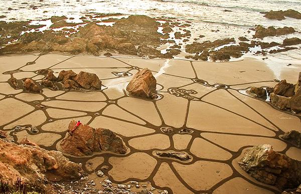 land art, ленд арт, рисунки на песке, пляж, море, узоры, художник