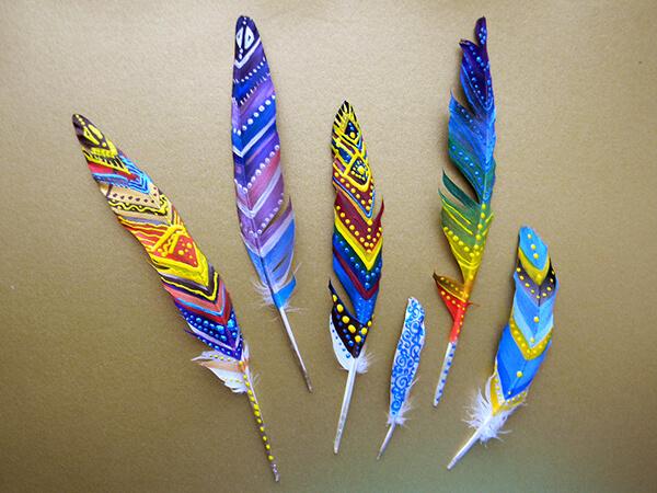 перья, перо, картины на перьях, декор, роспись, мастер класс, хенд мейд, хендмейд, handmade