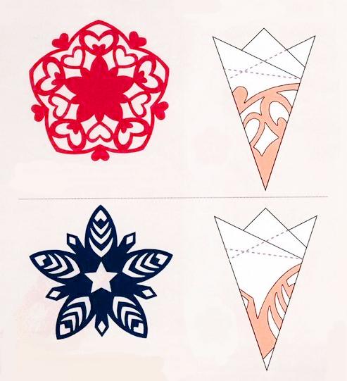 снежинки, снежинки из бумаги, поделки, поделки из бумаги, своими руками, схемы простые, мастер класс, поэтапно, уроки, хенд мейд, handmade, схемы, схемы вырезания простые