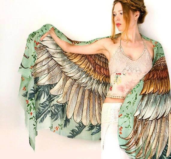 платки, платки с перьями, шелковые платки, роспись по ткани, батик, Shovava, художник, роза хамитова, казахстан, искусство