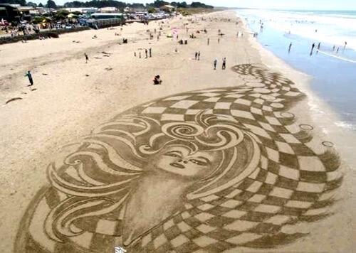 3д, 3д рисунки, 3д рисунки на песке, пляж, рисунки, иллюзия, искусство, оптические иллюзии