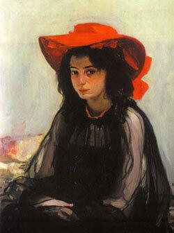 картина, композиция, композиция картины, мурашко, мурашко девушка в красной шляпе