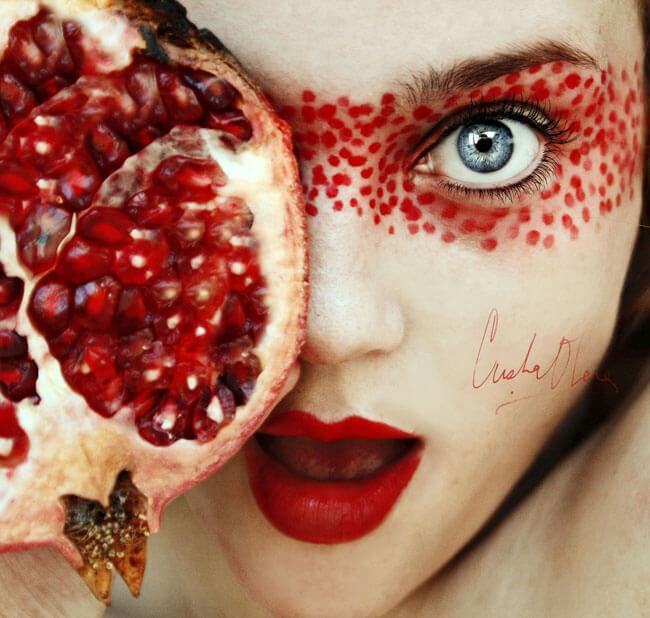 Christina Otero, Кристина Отеро, фото, фотоискусство, искусство, селфи, портрет, фрукты, фруктовый портрет, креативно, испания