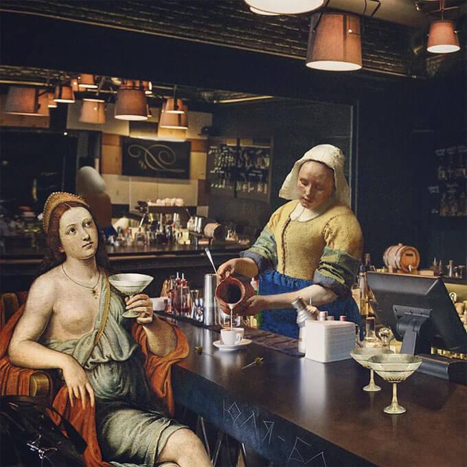 алла мингаева, художница, ренессанс, современное, средневековье, картины, фото, инстаграм, коллаж, классические картины, офис, офисная жизнь, искусство, искусство возрождения